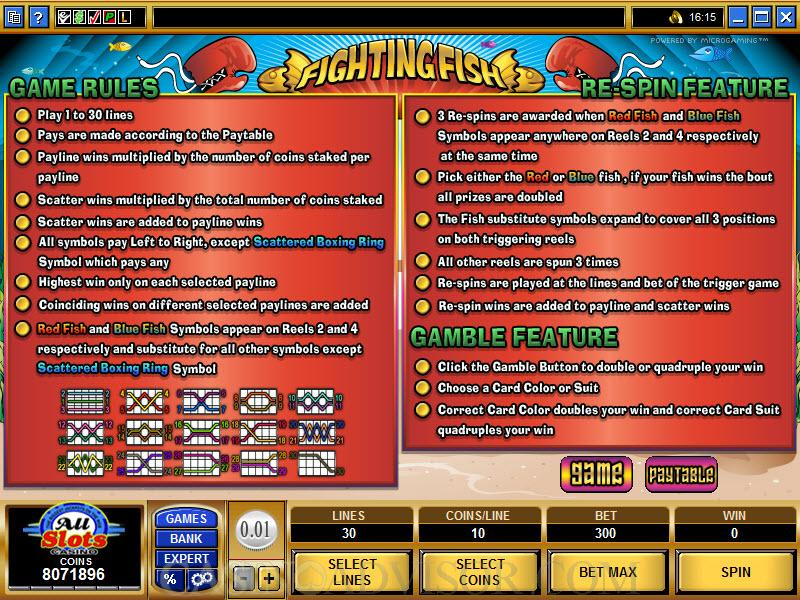 Microgaming fighting fish video slot game payout tables for How to play fish table game