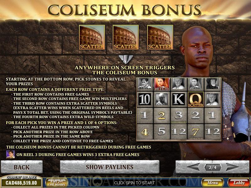 Play gladiator slot game free online