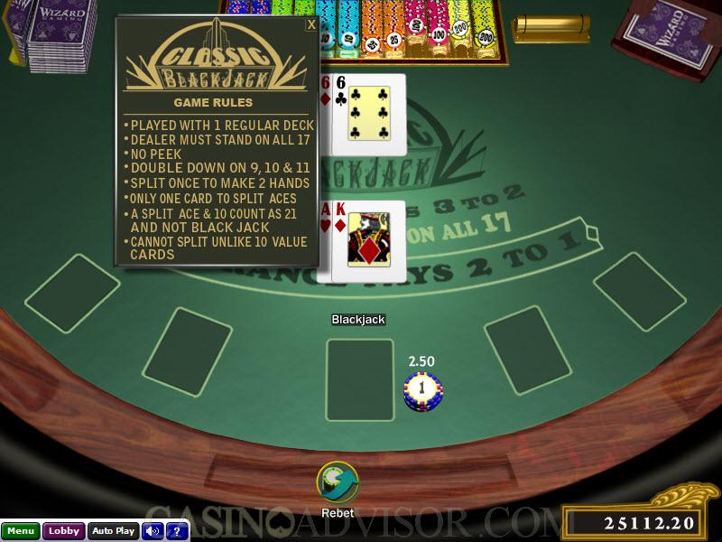 blackjack online casino the gaming wizard