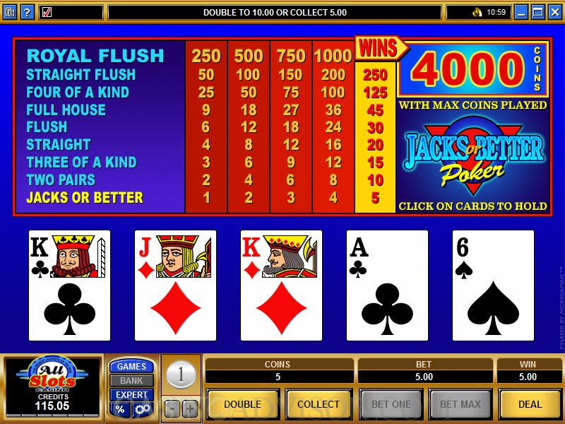 free casino jacks or better poker