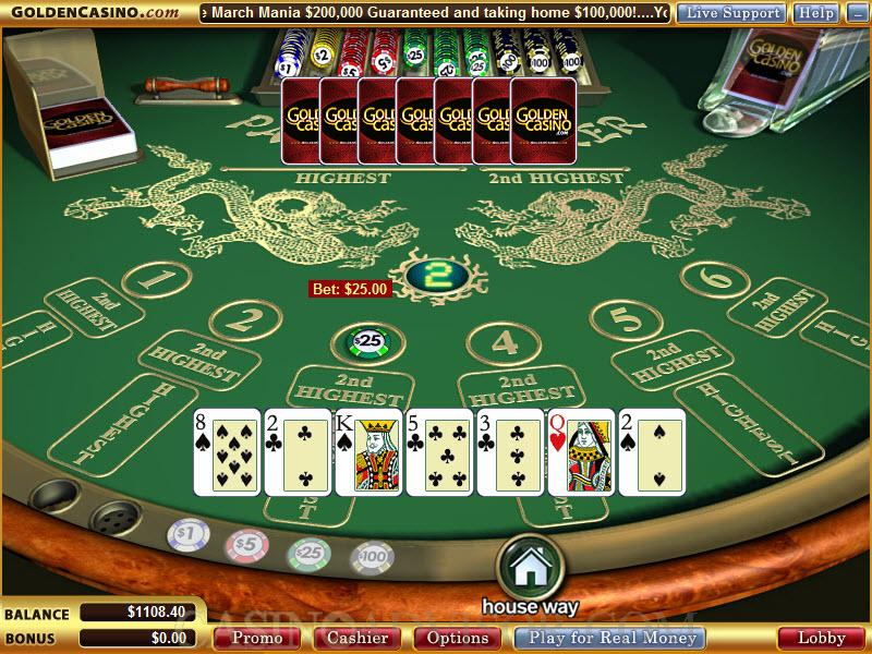 Different card games in casino