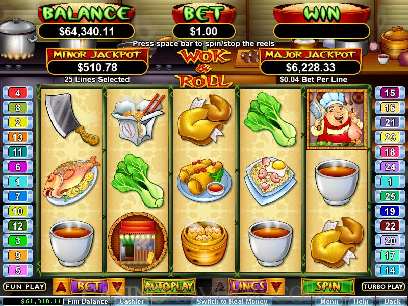 realtime gaming wok  roll online casino video slot game