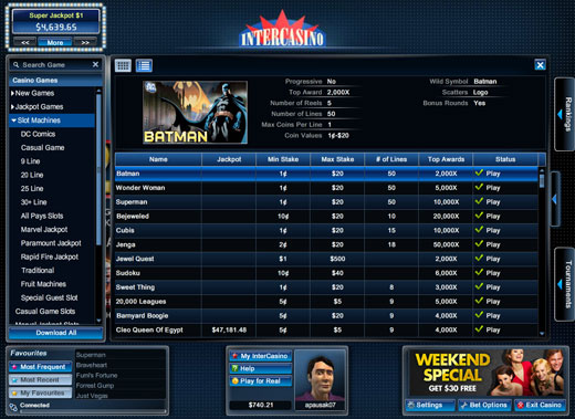 Intercasino Lobby List View