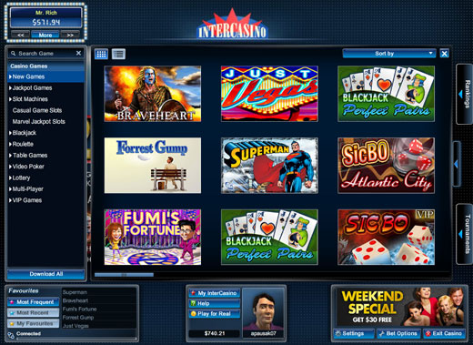 Intercasino Lobby Thumbnail View