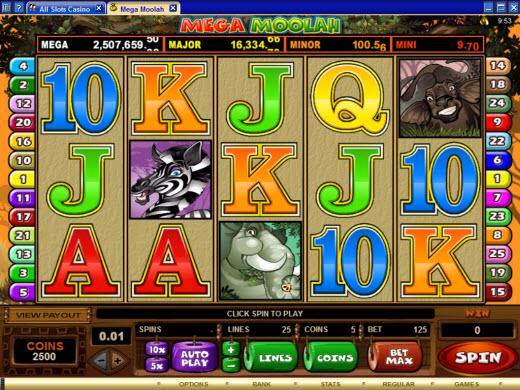 Mega Moolah Progressive Video Slot Preview