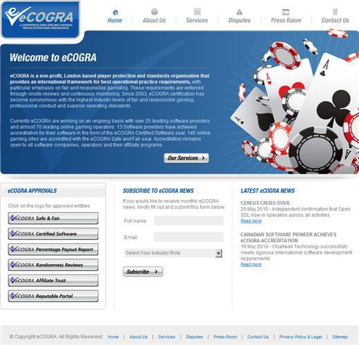 New eCOGRA Website Look and Feel