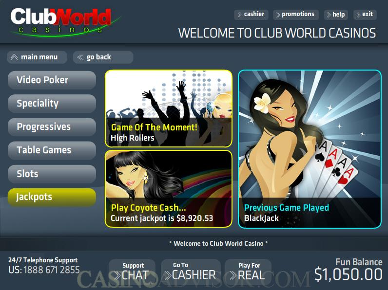 club world casino payout