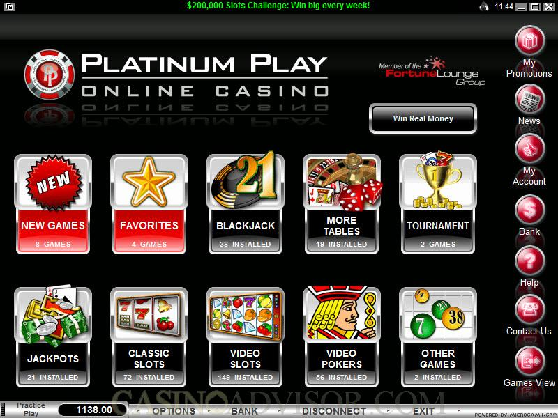 platinum online casino play