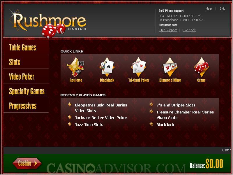 Rushmore Casino No Deposit Bonus Info